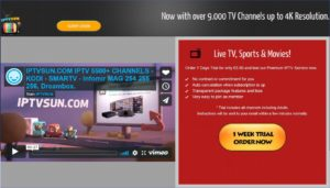 Screenshot of online advert for a pirate IPTV site