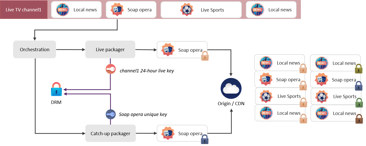 Live and catch-up parallel workflows